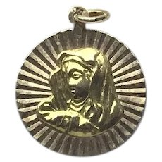 18K Gold Virgin Mary Medal Pendant