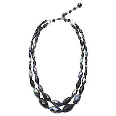 Silver Tone Black AB Faceted Crystal Necklace