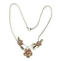 Retro Two Tone Gold Filled Floral Necklace