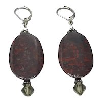 Silver Tone Amber Glass Dangle Earrings