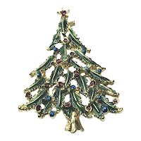 Gold Tone Green Enameled Christmas Tree Brooch