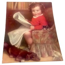 Lithograph Young Girl Kitten & Puppy