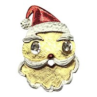 Gold Tone Rhinestone Santa Face Brooch Pendant