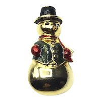 Gold Tone Snowman Brooch