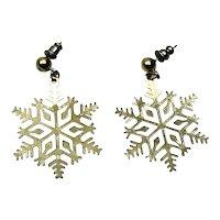Gold Tone Christmas Snowflake Dangle Earrings
