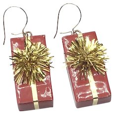 Red & Gold Christmas Package Dangle Earrings