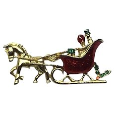 Gerry's Gold Tone Christmas Enameled Brooch