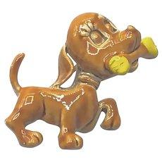 Metal Puppy Dog With Bone Brooch