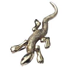 Silver Gilt Gecko Rhinestone Brooch