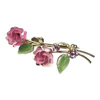Gold Tone Pink & Green Enameled Flower Brooch