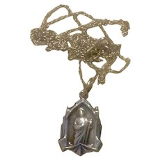 Sterling Jesus & His Sacred Heart Pendant Necklace