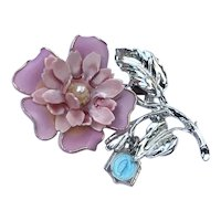 Silver Tone Pink Enameled Flower Brooch Miraculous Medal