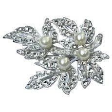 Silver Tone Faux Pearl Leaf Brooch