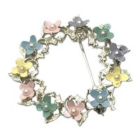 Silver Tone Enameled Floral Circle Brooch