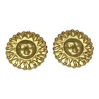 Gold Tone Moon Face Pierced Earrings
