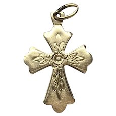 18K Gold Etched Cross Pendant