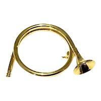 Gold Tone Horn Brooch