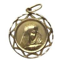 18K Gold Virgin Mary Taurus The Bull Zodiac Medal