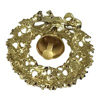 Gold Tone Christmas Wreath With Bell Brooch