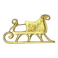 Gold Tone Christmas Sleigh Brooch