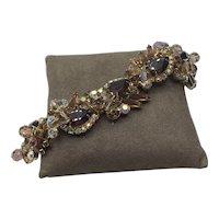 D & E Juliana Topaz AB & Clear 5 Link Rhinestone Bracelet