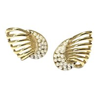 Gold Tone Faux Pearl Clip Earrings