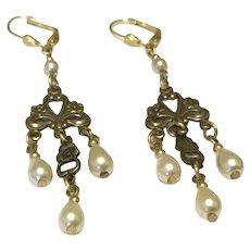 Bronze Tone & Faux Pearl Dangle Earrings