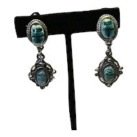 Silver Tone Faux Scarab Clip Earrings