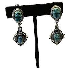 Silver Tone Faux Scarab Clip Earrings