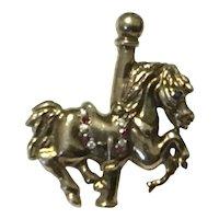 Silver Gilt Carousel Horse Pendant
