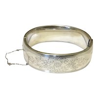 Vintage Sterling Silver Hinged Bangle Bracelet