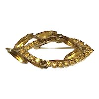 Gold Tone Yellow Topaz Rhinestone Brooch
