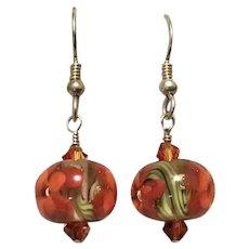Christmas Red & Green Ball Dangle Earrings