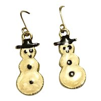 Christmas Snowman Dangle Earrings