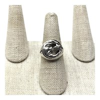 Sterling Silver Two Sided Man In The Moon Ring Size 7 1/2
