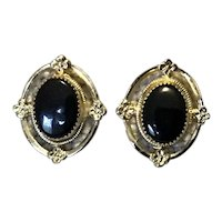Gold Filled Black Onyx Pierced Earrings