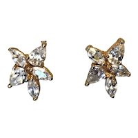 Gold Filled Clear Rhinestone Pierced Earrings