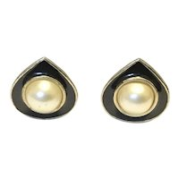 Kenneth Lane Black Enamel Faux Mabe Pearl Clip Earrings