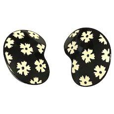 Black Enamel Floral Clip Earrings