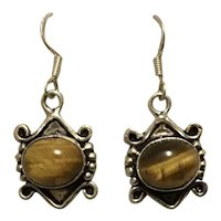 Sterling Silver Tiger Eye Dangle Earrings NOS