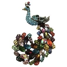 Multi Color Rhinestone Peacock Brooch