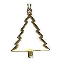 Gold Tone Christmas Tree Rhinestone Pendant