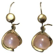 Rose Quartz Gold Filled Dangle Earrings