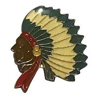Enameled Indian Chief Lapel Pin