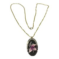 Gold Tone Lucite Orchid Pendant Necklace