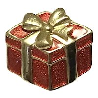 Gold Tone Red Christmas Package Brooch