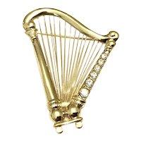 Gold Tone Rhinestone Harp Brooch
