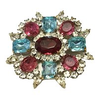 Silver & Gold Tone Red Clear Pink & Blue Rhinestone Brooch