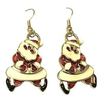 Yellow Gold Santa Claus Dangle Earrings