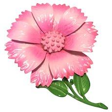 Enamel On Metal Pink Flower Brooch